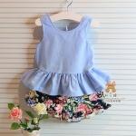 ชุดเสื้อผ้าฝ้ายสียีนส์โบว์หลัง + กางเกงลายดอกไม้