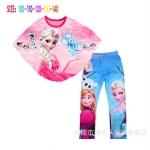 เสื้อปีกค้างคาว + กางเกง ลายเจ้าหญิงเอลซ่า (สีชมพู)