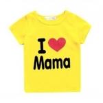 เสื้อยืดสกรีน I love mama (สีเหลือง)
