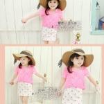 เดรสลายดาวสีขาว+เสื้อคลุมสีชมพู