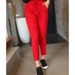 กางเกงลำลอง ผ้าชีฟอง สีดำ/สีแดง เอวยางยืด (XL,2XL,3XL,4XL,5XL)