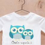 เสื้อยืดเด็กสกรีนลาย : Owl...ฮ.นกฮูกตาโต