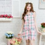 เดรสผ้าคอตตอทลายสก้อตสีวินเทจ งานน่ารักสไตล์สาวเกาหลี ใส่สบายๆ สามารถรูดเชือกได้จ้ะ