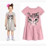 เดรสสีชมพูสกรีนลายหน้าแมว สไตล์ H&M (ไม่มีป้าย)