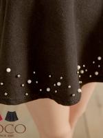 ♥♥พร้อมส่งค่ะ♥♥ กระโปรงสั้นสีดำ แฟชั่นเกาหลี ช่วงเอวยืดริมกระโปรงประดับลูกปัดเก๋ๆ