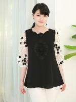 เสื้อชีฟองไซส์ใหญ่ สีดำปักลาย แขนชีฟองแก้วลายดอกไม้ (L,XL,2XL,3XL,4XL,5XL)