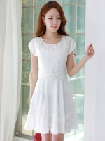 ♥พร้อมส่ง♥ เดรสสไตล์เกาหลี ผ้าลินินระดับ high-end ตกแต่งด้วยผ้าลูกไม้ สีขาว (2XL)