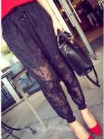 กางเกงลูกไม้สีดำ ขายาว เอวยางยืดมีเชือกผูก ปลายขายืด มีกระเป๋ากางเกง พร้อมซับใน (XL,2XL,3XL,4XL)