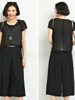ชุดเซ็ทไซส์ใหญ่ 2 ชิ้น เสื้อชีฟอง + กางเกงขากว้าง สีดำ (XL,2XL,3XL,4XL,5XL)