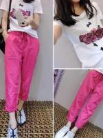 ชุดเซ็ทไซส์ใหญ่ใส่สบาย ๆ 2 ชิ้น เสื้อยืดคอกลม + กางเกงผ้าลินิน (XL,2XL,3XL,4XL)