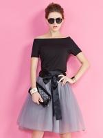 ชุดเซ็ท 2 ชิ้น เสื้อคอตต้อนสีดำ+กระโปรงผ้าไหมแก้วสีเทา (XL,2XL,3XL,4XL,5XL)