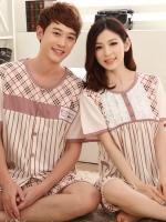 ชุดนอนคู่รักสไตล์ญี่ปุ่น แขนสั้น ผ้าฝ้าย 100% M L XL 2XL 3XL