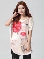 เสื้อผ้าไหมทรงหลวม พิมพ์ลายหน้าผู้หญิงสวย (XL,2XL,3XL,4XL)