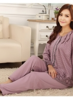 ชุดนอนผ้าฝ้ายลายดอกไซส์ใหญ่ ขายาว-แขนยาว ไซส์ XL 2XL 3XL