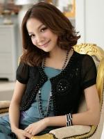 เสื้อคลุมแขนสั้นชีฟองปักลูกปัด+ลูกไม้ สีขาว/สีดำ XL 2XL 3XL