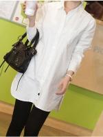 เสื้อเชิ้ตผ้าฝ้ายสีขาวหลวมไซส์ใหญ่ แขนยาว (S,M,L,XL,2XL,3XL)