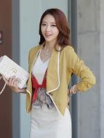 เสื้อแจ็คเก็ตชีฟอง สีเหลือง/สีดำ/สีขาว XL 2XL 3XL