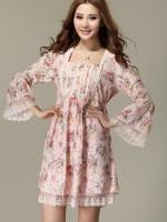 ♥พร้อมส่ง♥ ชุดเดรสผ้าลูกไม้ชีฟอง สีชมพู 2XL