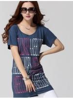 เสื้อยืดผ้าฝ้ายระบายอากาศหลวม คอกลม สีน้ำเงินพิมพ์ลายอักษรภาษาอังกฤษ XL 2XL 3XL 4XL