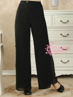 &#x2665พร้อมส่ง&#x2665 กางเกงจีนชีฟอง ขายาว สีดำ (3XL)