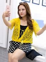 เสื้อคลุมผ้าลูกไม้ แขนสั้น สีขาว/สีดำ/สีเหลือง (2XL,3XL)