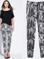 กางเกงผ้ายืดขายาวไซส์ใหญ่ พิมพ์ลาย เอวยางยืด สีขาวดำ (XL,2XL,3XL,4XL,5XL,6XL)