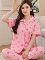 ชุดนอนผ้าฝ้ายคุณภาพดี เสื้อแขนสั้น+กางเกงขายาว สีชมพูลายการ์ตูน (XL,2XL,3XL)