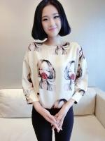 ++พร้อมส่ง++ เสื้อไซส์ใหญ่สีครีมพิมพ์ลายการ์ตูนน่ารักสไตล์เกาหลี (3XL)