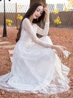 เดรสผ้าลูกไม้ไซส์ใหญ่สวยสง่างาม สีขาว/สีดำ (3XL,4XL,5XL)