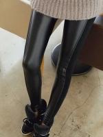 กางเกงหนังผ้ายืดไซส์ใหญ่ สีดำ ติดซิปหน้า (XL,2XL,3XL,4XL,5XL)