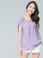 เสื้อชีฟองไซส์ใหญ่ สีม่วง คอกลม แขน(สั้น)บัวซ้อน (XL,2XL,3XL,4XL)