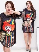 เดรสไซส์ใหญ ผ้าOganza แขนตุ๊กตาสามส่วน(ผ้าชีฟอง) พิมพ์ลายตัวตลกสีสันสดใส สีดำ (XL,2XL,3XL)