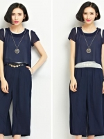 ชุดเซ็ทไซส์ใหญ่ 2 ชิ้น เสื้อชีฟอง + กางเกงขากว้าง สีน้ำเงิน (XL,2XL,3XL,4XL,5XL)