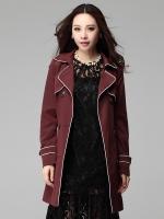 เสื้อแจ็คเก็ตตัวยาวไซส์ใหญ่ กระดุมคู่สองแถว สีน้ำตาลแดง (XL,2XL,3XL,4XL)