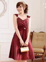 ♥พร้อมส่ง♥ ชุดราตรีงดงาม สีแดงไวน์ ไซส์ XL