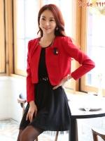 [พร้อมส่ง] เสื้อคลุมCropped แขนยาว สีแดง ไซส์ 2XL