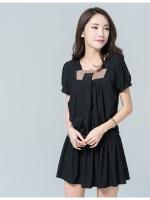 มินิเดรสผ้ายืดไซส์ใหญ่สไตล์เกาหลี สีดำ (XL,2XL,3XL,4XL)