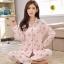 ชุดนอนผ้าฝ้ายไซส์ใหญ่ แขนยาว-ขายาว ปกเชิ้ต สีชมพูลายน้องกระต่าย (XL,2XL,3XL) thumbnail 1