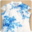 ชุดกี่เพ้าสั้นผ้าซาตินยืดไซส์ใหญ่ คอจีน กระดุมจีน แขนในตัว สีฟ้าลายดอก (XL,2XL,3XL) thumbnail 4
