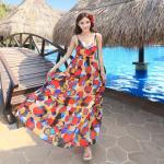 Summer Maxi Dress-Chiffon    แม็กซี่เดรสผ้าชีฟองพิมพ์ลาย แฟชั่นเกาหลี