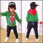set spiderman เสื้อมีฮู้ด + กางเกง *เขียว* 5 ชุด/แพค *ส่งฟรี*
