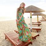 Summer Maxi Dress-Chiffon *With PU belt   ซัมเมอร์เดรสผ้าชีฟองพิมพ์ลาย เดรสแฟชั่นเกาหลี