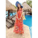 Summer Maxi Dress-Chiffon *With PU belt   ซัมเมอร์เดรสผ้าชีฟองพิมพ์ลายกราฟฟิค แฟชั่นเกาหลี