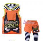 set batman เสื้อมีฮู้ด + กางเกงติเลคกิ้ง *ส้ม* 6 ชุด/แพค *ส่งฟรี*
