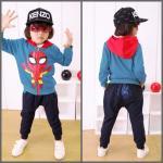 set spiderman เสื้อมีฮู้ด + กางเกง *ฟ้า* 5 ชุด/แพค *ส่งฟรี*