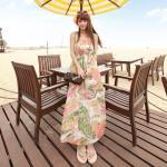 Summer Maxi Dress-Chiffon     แม็กซี่เดรสสายเดี่ยวผ้าชีฟองพิมพ์ลาย แฟชั่นเกาหลี