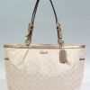 Coach Gallery Metallic Signature Large Tote # 17723 Khaki/Gold