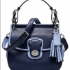 Coach Legacy Archival Two Tone Leather Willis Convertible Bag # 22409 สี SILVER/NAVY CHAMBRAY