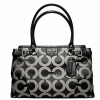 Coach madison op art sateen kara carryall # 22344 สี SILVER / BLACK WHITE / BLACK