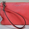 COACH SMALL WRISTLET IN SAFFIANO LEATHER # 49377 สี Silver Bright Coral